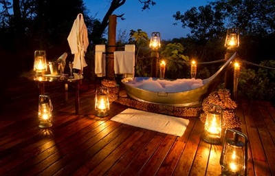 Romantic bathing at Baines' Camp, Okavango Delta