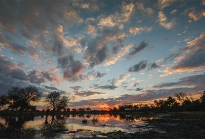 Sunset on Khwai River, Okavango, Botswana