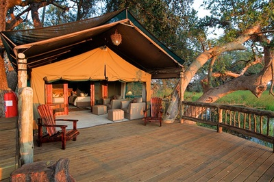Accommodation at Gunn's Camp, Okavango Delta