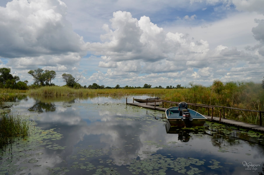 The boat station at Nxamaseri Island Camp, North West Okavango